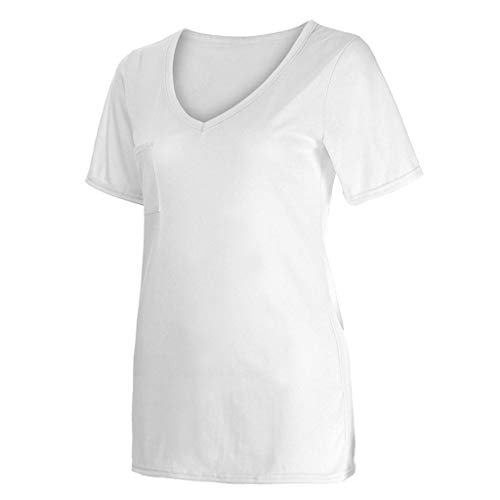 Courte Chic T Tops Blanc Casual Col Tee V Eté shirt Femme Shirt Blouse Manche Poachers Solides Shirt Eqw464