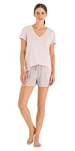 HANRO Women's Sleep and Lounge Short Sleeve V-Neck Shirt, Light Blush Small ()