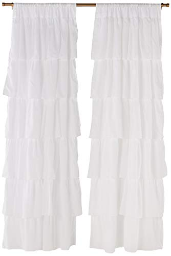 Dainty Home Layers of Ruffles Pleated Rod Pocket with Header Curtain Panel Pair Set of 2, 38