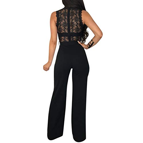 Black Red Wine Jumpsuit Hollow Out Women Lace Sleeveless Belted Pz4wPr8q