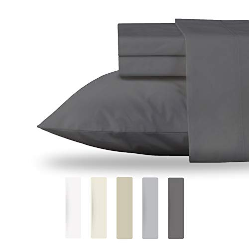 California Design Den Bed Sheet Set- Queen size, 100% Organic Cotton (GOTS Certified), 300 Thread Count, 4 Piece Set, Grey, Hypoallergenic, Long Staple, Deep Pockets, Crisp, Percale, Cool Sheets, Best
