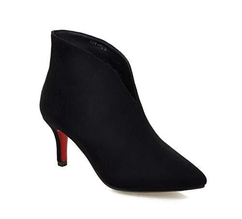 Women's Pointed Toe Stiletto Heel Oblique Ankle Boots(Black-41/9 B(M) US Women)