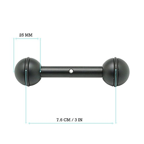 3''/7.6cm Double 1'' Ball Arm for Connecting Strobe/Video Light to Underwater Housing by KitDive