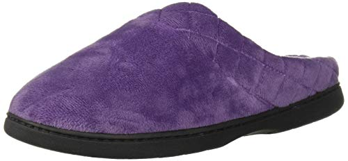 Dearfoams Women's Darcy Microfiber Velour Clog with Quilted Cuff Smokey Purple X-Large US