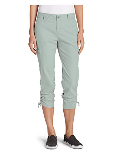 Eddie Bauer Women's Adventurer Stretch Ripstop Crop Cargo Pants - Slightly Curv,2 Regular,Celadon (Green)