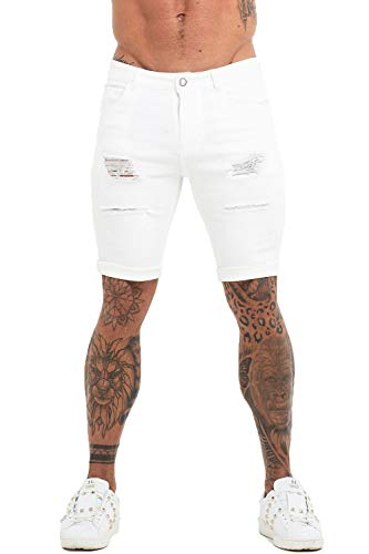 GINGTTO Mens Denim Shorts Ripped High Waisted for Men White Jeans Shorts 30 (Fashion Ripped Jeans)