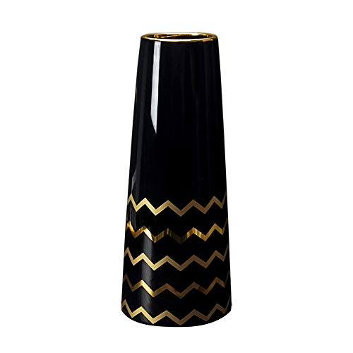 LIONWEI LIONWELI 9.5'' Black Gold Finish Ceramic Flower Vase Home Decor Vase and Table Centerpieces Vase - Ideal Gifts for Friends and Family, Christmas, Wedding, Bridal Shower