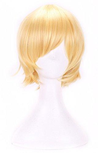 AneShe Men's Short Straight Layered Hair Anime Cosplay Costume Wig (Light Blonde)