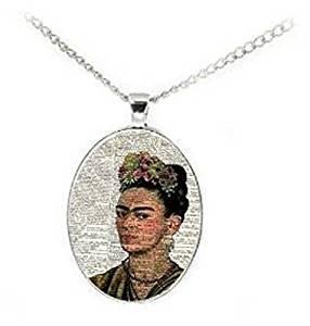 (Frida Kahlo Portrait Dictionary Page Art Print Necklace)