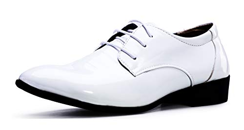 ZZHAP Mens Tuxedo Shoes Wedding Formal Dress Patent Leather Shoes White-03 US 10.5