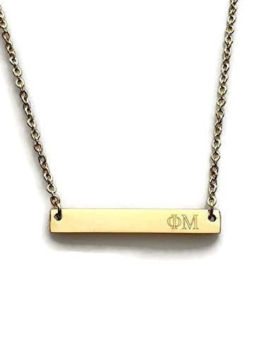Phi Mu Sorority Necklace Gold Plated 18 inch Greek Life Bid Night Gift Big Little Sister