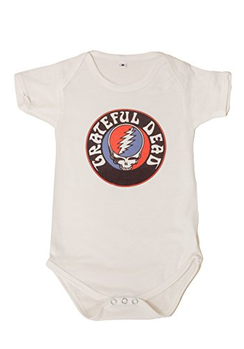 Sidecca Classic Rock Band Logo Short Sleeve Baby Bodysuit Onesie (X-Large (12-18 mo), Grateful Dead-Ivory)