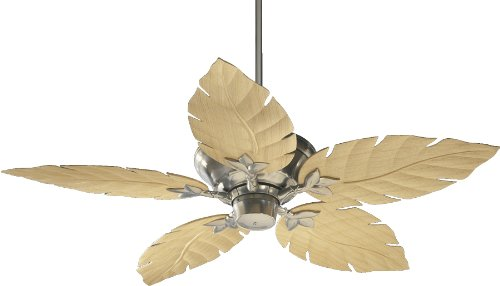 Fan Ceiling Holder Blade (Quorum International 135525-65 Monaco Patio Ceiling Fan with Decorative Maple ABS Blades, 52-Inch, Satin Nickel Finish)