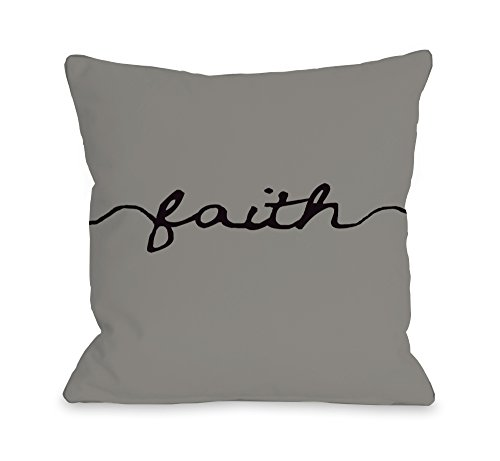 One Bella Casa Faith Mix & Match Throw Pillow Cover by OBC, 18''x 18'', Gray/Black by One Bella Casa