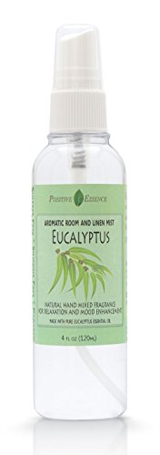Eucalyptus Room and Linen Spray - Natural Aromatic Mist Made with PURE EUCALYPTUS ESSENTIAL OIL - Relax Your Body & Mind – Perfect as a Bathroom Air Freshener Odor Eliminator by Positive Essence