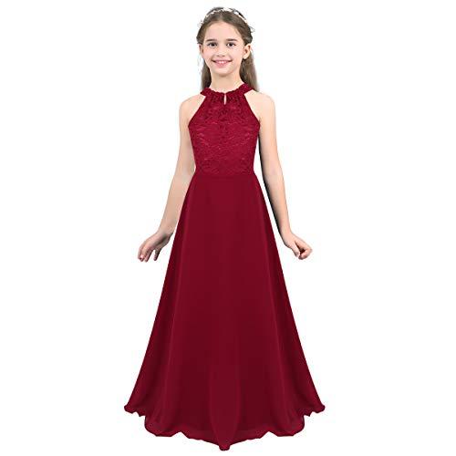 MSemis Girls' Princess Halter Neck Floor-Length Lace Chiffon A-Line Junior Bridesmaid Dress Burgundy Floor Length 10