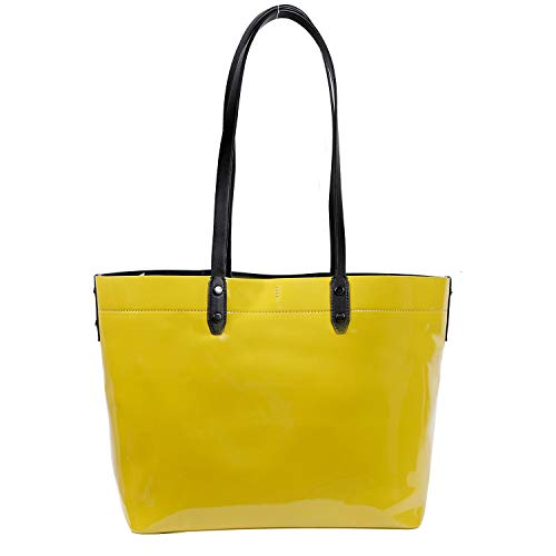 Impermeable Almacenamiento Mensajero Shopper De Tora Collection green Yellow Paco Pu Bolsa Charol Bolso Mano Cuero Bolsos Moda w4WUfq8