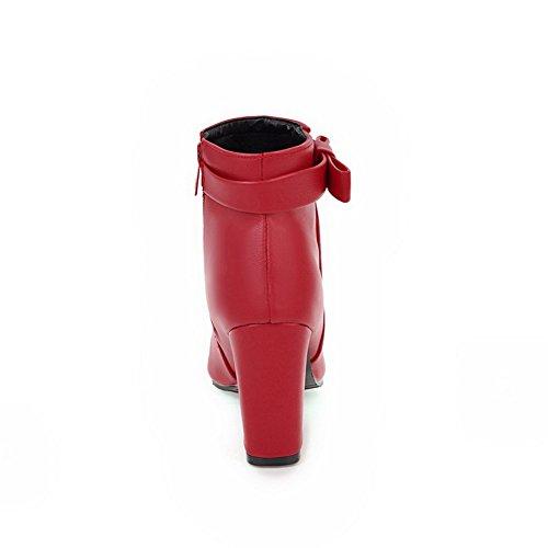 Forro a en uretano Zip Botas con cerrada Artificial MNS02614 lisa el punta tobillo Abrigo de para mujer alto Tacón Botas cálido Artificial hechas Piel Rojo 1TO9 Sólido Impermeable mano q8OtCw4q