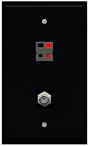 RiteAV - Black 1 Port Coax Cable TV- F-Type 1 Port Speaker Wall Plate - Sj Speaker Cable