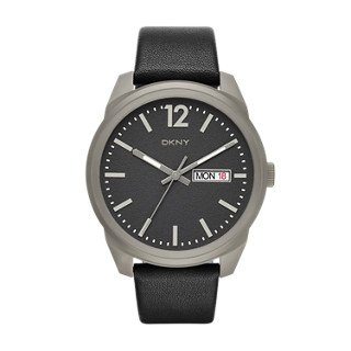 DKNY Men's 'Bryant Park' Quartz Titanium and Black Leather Casual Watch (Model: NY2446)