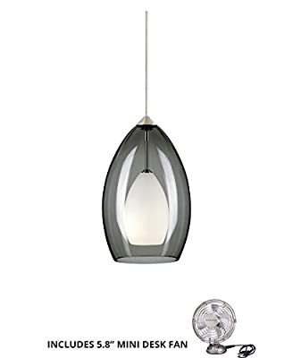 Tech Lighting 700FJFIRKS, Fire Mini Low Volt Murano Glass Pendant, 1LT Halogen, Nickel (Includes Mini Desk Fan)