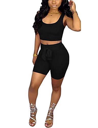 Adogirl Sexy2PieceOutfitsSportJumpsuitTank Tops Tracksuit BodyconClubwear Black M