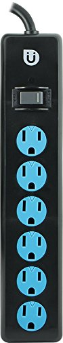 Uber 6 Outlet Power Strip, 4ft Cord, Safety Covers, Black/Blue, 25115