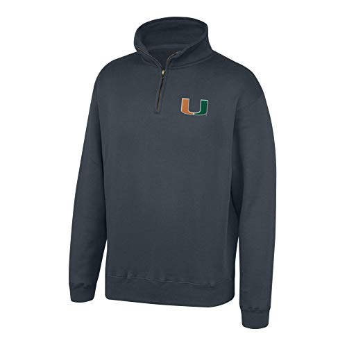(Top of the World NCAA Men's Miami Hurricanes Dark Heather Classic Quarter Zip Pullover Charcoal Heather X Large)
