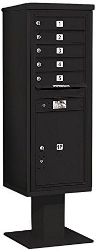 Cluster Mailboxes - Salsbury Industries 3413S-05BLK 4C Pedestal Mailbox, Black