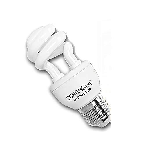UVB Reptile Light Bulb, Compact Fluorescent Desert/Tropical Terrarium Lamp for Reptile Calcium Supplement, 13 Watts (10.0 for -