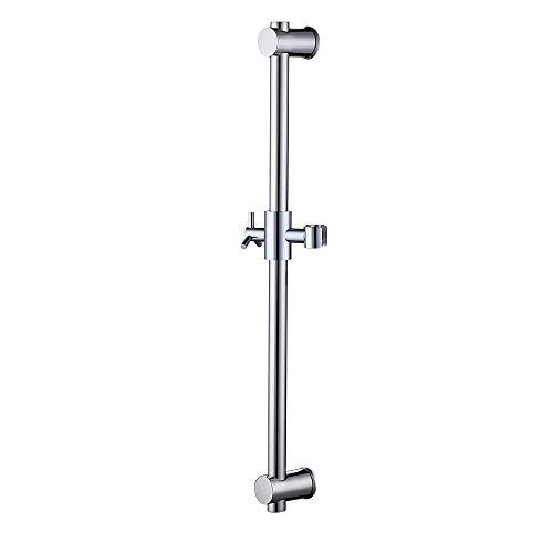 KES Stainless Steel Slide Bars with All Brass Handheld Shower Bracket Height and Angle Adjustable, Polished Steel F203-PS