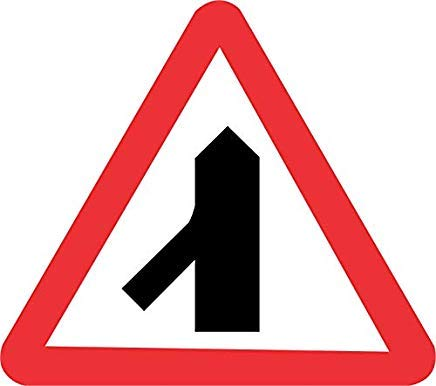 Pack of 5 Traffic Merging from Left Ahead Road 300mm x 300mm Warning Sign Stickers Danger Safety Hazard Notice Sign Lable Decal Self Adhesive