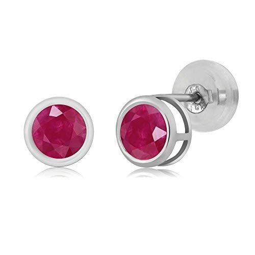 Gem Stone King 14K White Gold 0.60 Ct Round 4mm Natural Red Ruby Bezel Basket Stud Earrings ()
