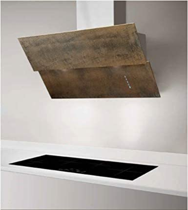 Campana de pared inclinada de 80 cm, acabado hierro oxidado/corten, equipado con filtro PlasmaMade: Amazon.es: Grandes electrodomésticos