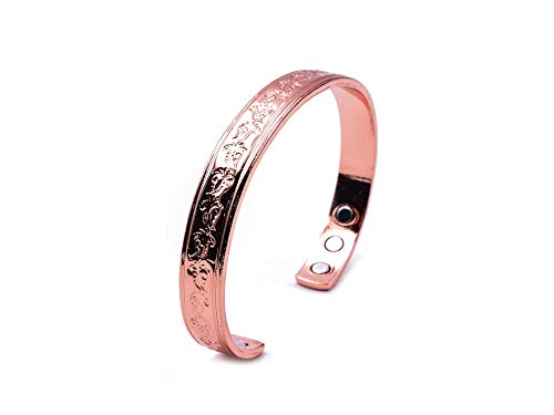 Elegant Copper Bracelet for Arthritis; Magnetic Therapy (6 Embedded into Internal face); Beautiful Floral Design; Commonly Worn for Pain Relief and Magnetic Healing; Can Also be Worn as an Accessory