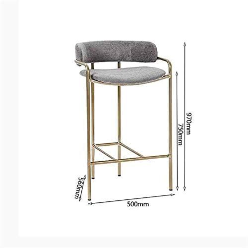 N / A Bar Tabouret de Bar Tabouret Cuisine Chaise Dossier Repose-Pieds Balustrade Chaise Haute Contre Mobilier de Bureau d'or (Taille: 75cm)