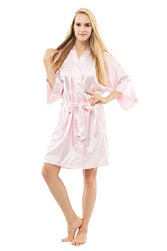 The Bund¨ Women's Pure Colour Short Kimono Robes with Oblique V-Neck