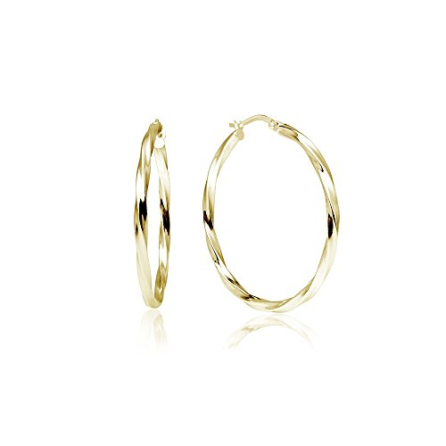 Sterling Silver Small Twist - LOVVE Yellow Gold Flashed Sterling Silver High Polished Twist Round Click-Top Hoop Earrings, 2x35mm