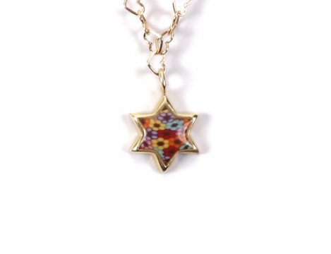 Gold Plated Silver Star of David Necklace Charm Handmade Multi-Color Polymer Clay, 16.5