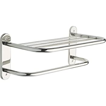 Delta Faucet 43618-ST 18-Inch Stainless Steel Towel Shelf with One Bar, Exposed Mounting