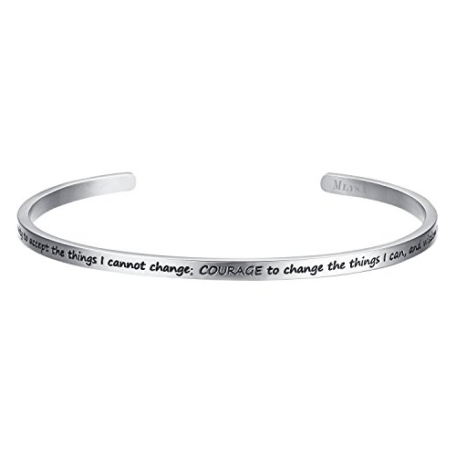 Shally 'God Grant Me the Serenity to Accept the Things I can not Change' Prayer Cuff Bracelet Religious-symbols (Serenity Prayer Heart)
