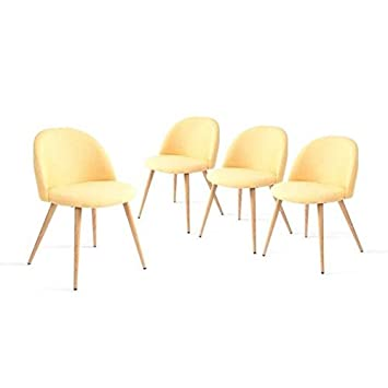 Soliving Colette Chaise Tissu Jaune 47 X 505 755 CmCOLE02AR131