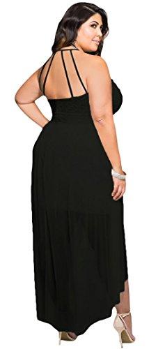 EOZY Robe Grande Taille Femme Epaule Robe de Soirée Fendue Asymetrique Noir