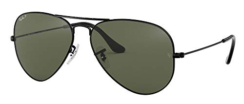 Ray Ban RB3025 002/58 55M Black/Polarized Green Aviator (Ray-ban Aviator)