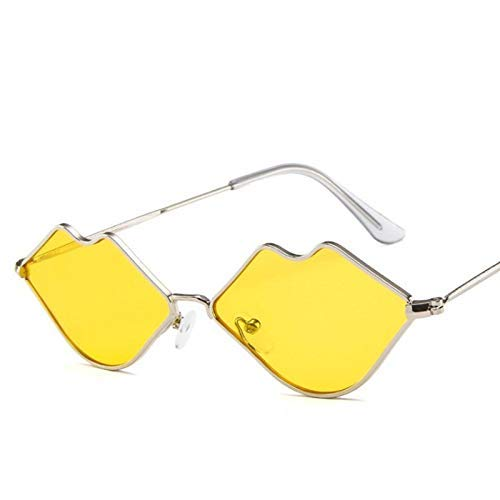 (BAIF Small Box Metal Lips Sunglasses Europe and The United States Trend Ocean Film Sunglasses Retro red Lips Sunglasses)