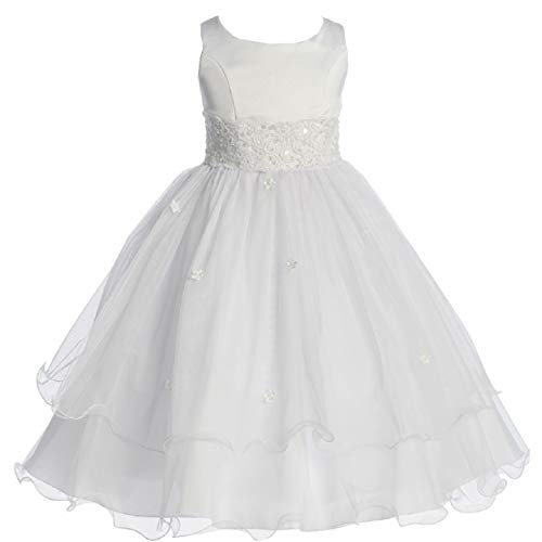 Gorgeous First Communion Dresses (Big Girls' First Communion Lace Trim Tulle Wedding Flowers Girls Dress White Size 8)