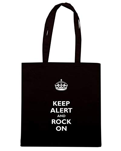 ROCK Nera Borsa TKC0168 ON ALERT AND KEEP Shopper CALM CZwpqP