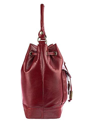 4f1d7c6140 Bolsa saco com bolso em couro legítimo vermelha  Amazon.com.br  Amazon Moda