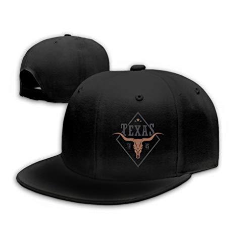 Xunulyn Adult Adjustable Structured Baseball Cowboy Hat Texas State Print Longhorn Skull Design Stamp Label Black
