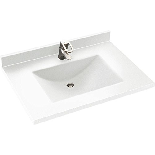 Swanstone CV2231-010 Contour Solid Surface Single-Bowl Vanity Top, 31 22-Inch, White